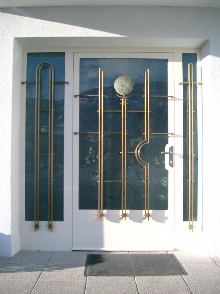 Haustüre Bronzegitter