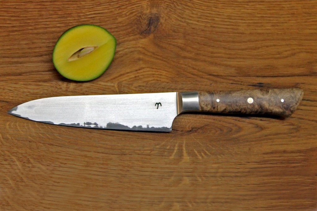 Küchenmesser, 3-Lagen Stahl, Griffschalen Ahornmaser stabilisiert