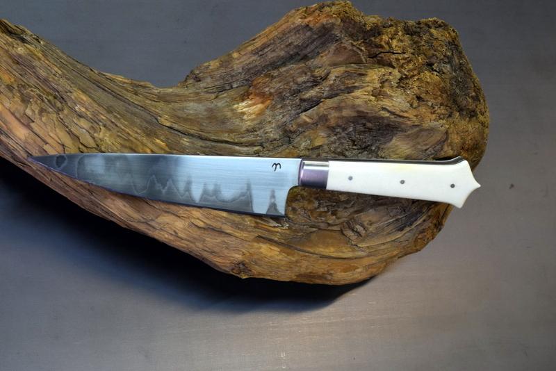 Küchenmesser - Frühes Mittelalter, 3-lagen Stahl, mit Bein beschlagen